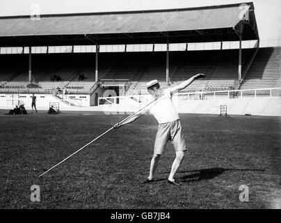 Athletics - London Olympic Games 1908 - Javelin - Stock Photo
