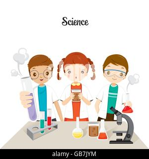 Children In Science Class Experimenting, Back to school, Educational, Stationery, Book, Subjects, Knowledge, Teaching - Stock Photo