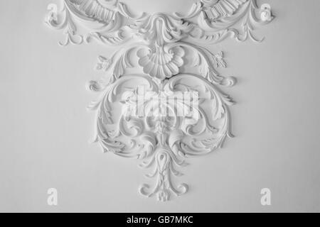 White wall molding with geometric shape and vanishing point. Horizontal - Stock Photo