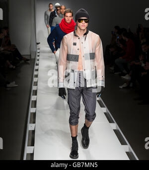 NEW YORK, NY - FEBRUARY 02, 2016: Models walk the runway at the Nautica Men's Fall 2016 fashion show - Stock Photo