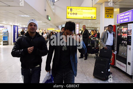 Peter Andre arrives at Heathrow - London - Stock Photo