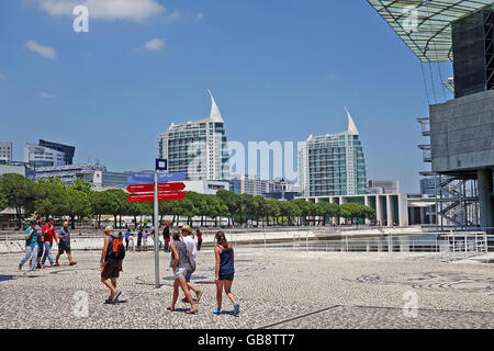 LISBON, PORTUGAL - JUNE 16, 2015: Modern buildings near Tagus river and Lisbon Oceanarium at Park of Nations in - Stock Photo
