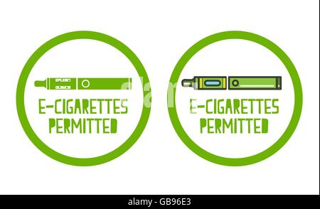 set of electronic cigarettes permitted sign icons - Stock Photo
