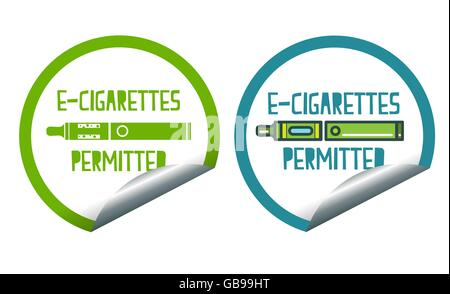 Electronic cigarettes permitted sticker label sign set - Stock Photo