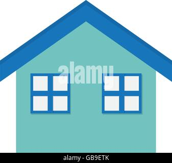 house with two windows icon - Stock Photo