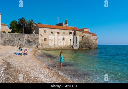 Ricardova glava, Richard's Head beach, at old town, Budva, Montenegro, Europe - Stock Photo