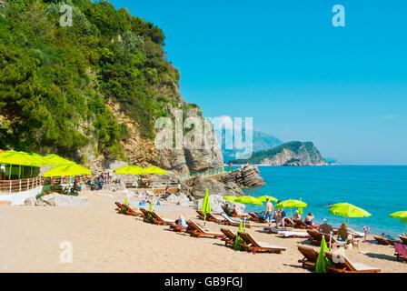 Plaza Mogren, Mogren beach, Budva, Montenegro, Europe - Stock Photo