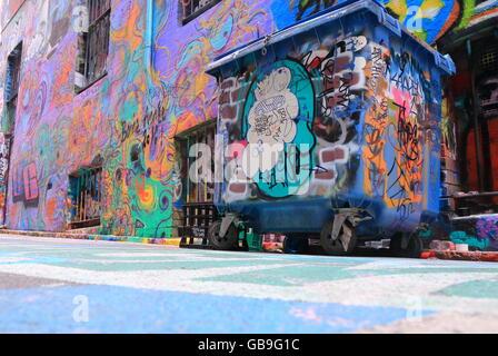 Graffiti in Hosier lane in Melbourne Australia. - Stock Photo