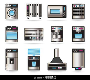 Household appliances icons set - vector illustration - Stock Photo