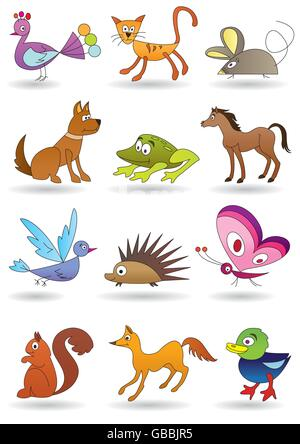 Toys with animals for kids icons set - vector illustration - Stock Photo
