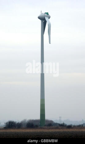 Damage to wind turbine - Stock Photo