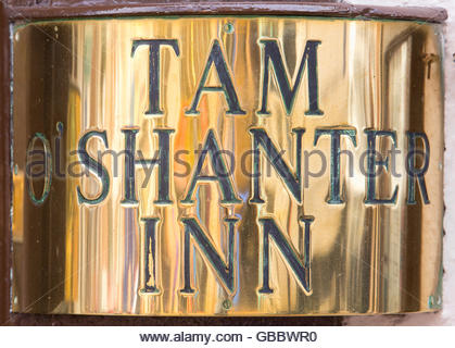 A detail of the brass name plate on the entrance to the Tam O' Shanter Inn, Ayr, South Ayrshire, Scotland. - Stock Photo