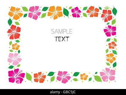 Colorful Hibiscus Frame, Flowers, Tropical, Summer, Border, - Stock Photo