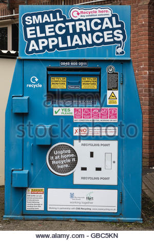 Recycling bin for small electrical appliances - Stock Photo