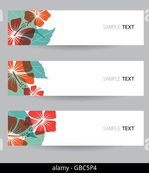 Hibiscus Banner, Flowers, Tropical, Summer - Stock Photo