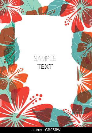 Hibiscus Frame, Flowers, Tropical, Summer, Border, Poster - Stock Photo