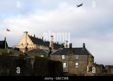 Stirling Castle flypast - Stock Photo