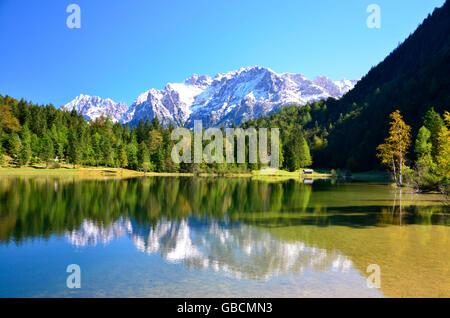Bergsee, Karwendelgebirge, Ferchensee, Isartal, Oberbayern, Deutschland - Stock Photo