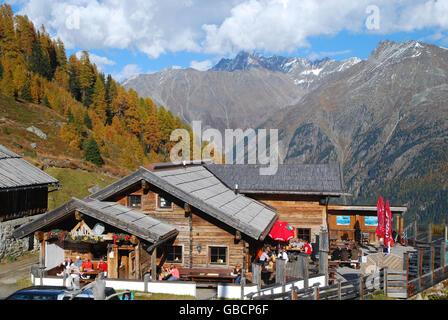 Restaurant 'Huhnersteign', glacier Rettenbach, Otz valley, Solden, Tyrol, Austria / Sölden, Ötztal, Hühnersteign, - Stock Photo