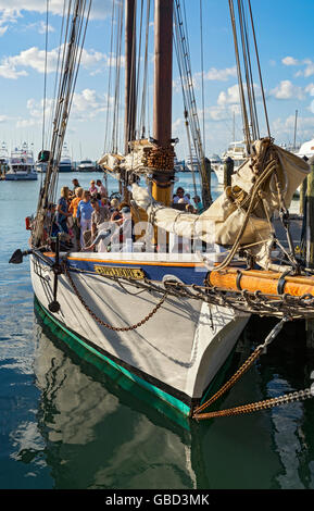 Florida, Key West, charter sailing yacht Schooner 'Appledore' departing for sunset cruise - Stock Photo