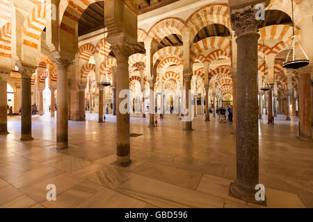 Great hall of the Mosque-Cathedral of Córdoba, Spain - Stock Photo