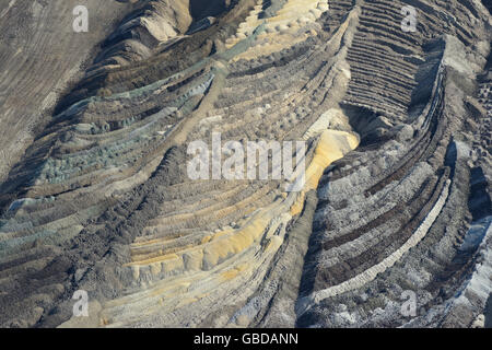 BOTTOM OF AN OPEN-PIT COAL MINE (aerial view). Near the town of Belchatow in Poland. - Stock Photo
