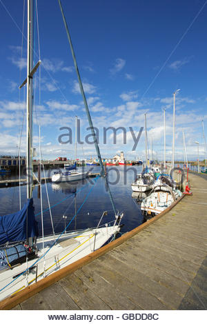 Yachts moored at the harbour at Irvine, North Ayrshire, Scotland. - Stock Photo