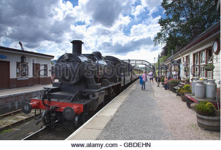 The Strathspey Steam Railway - a train at the Boat of Garten Railway Station, Boat Of Garten, Highlands of Scotland. - Stock Photo