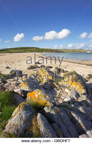 An empty beach near Port Ellen on the Isle of Islay, Inner Hebrides, Scotland. - Stock Photo