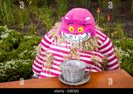 Cheshire Cat At Mad Hatters Tea Party Alice In Wonderland Effigy Or Scarecrow Assembled For