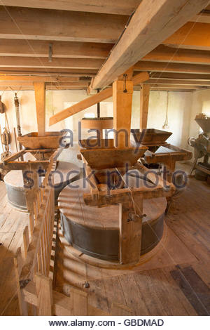 The interior of Barony Mill - a working water powered mill, Birsay, Mainland, Orkney, Scotland. - Stock Photo