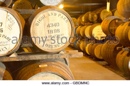 Barrels stored at the Highland Park Distillery, Kirkwall, Mainland, Orkney, Scotland. - Stock Photo