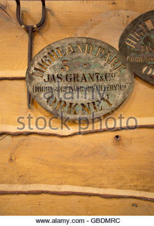 Stencils for marking the barrels at the Highland Park Distillery, Kirkwall, Mainland, Orkney, Scotland. - Stock Photo