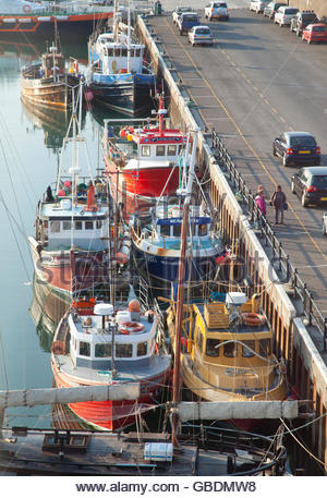 Fishing Boats moored in the harbour at Kirkwall, Mainland, Orkney, Scotland. - Stock Photo