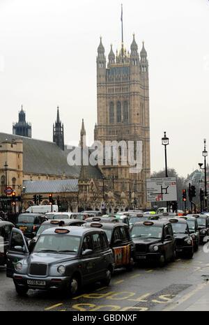 Black cab protest - Stock Photo
