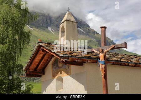 St Sebastian Chapel in Bessans village, Vanoise National Park, Northern Alps, Savoie, France - Stock Photo