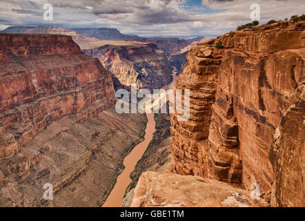 Grand Canyon from Toroweap Point at North Rim, 1000 meters above Colorado River, Arizona, USA - Stock Photo