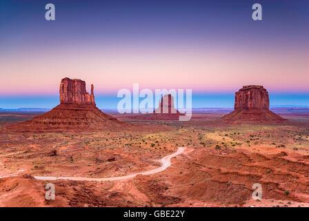 Sunset at Monument Valley, Arizona, USA - Stock Photo