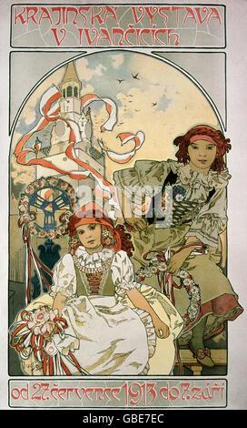 fine arts, Mucha, Alfons, (1860 - 1939), poster, 'Krajiinska Vystava V Ivancicich', 1913, - Stock Photo