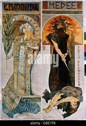 fine arts, Mucha, Alfons (1860 - 1939), poster, advertising posters for the Theatre de la Renaissance, Paris, left: 'Gismonda' with Sarah Bernhardt, 1894, right: 'Medee', 1898,