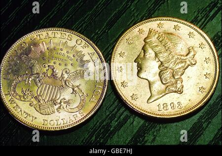 money / finance, coins, USA, 20 dollar gold coin 'Double Eagle', 1893, , Additional-Rights-Clearences-NA - Stock Photo