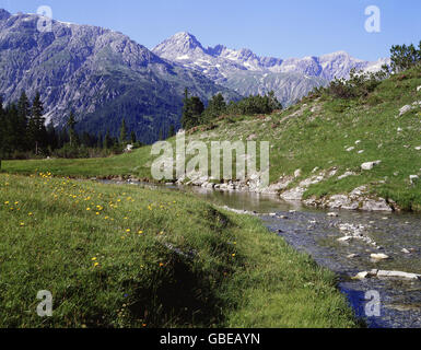 geography / travel, Austria, Vorarlberg, landscapes, Lechtal Alps, Spuller brook, Spulleralp with Braunarlspitze - Stock Photo