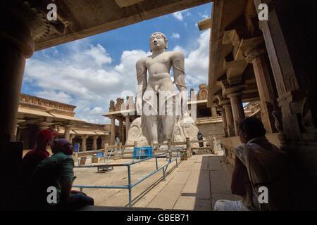 The statue of Gomateswara Bahubali, situated at Shravanabelagola, Hassan district, Karnataka, India - Stock Photo