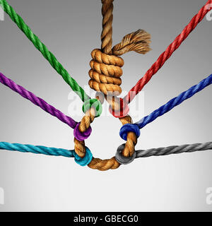 Suicide prevention support and group intervention symbol as a rope shaped in a suicidal noose with a group of diverse - Stock Photo