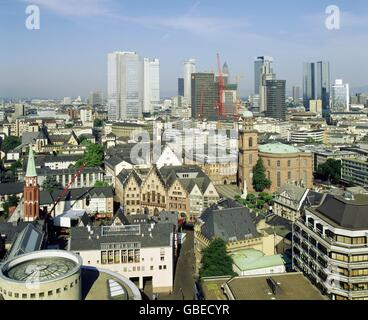 geography / travel, Germany, Hesse, Frankfurt on the Main, view over the city, with Roemer, St. Paul's church and - Stock Photo