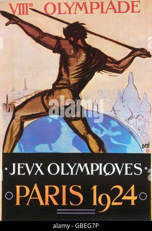 sports, Olympic Games, Paris 4.5. - 27.7.1924, poster, 1924, 8th Olympic Games, Summer Olympic Games, Summer Olympics, - Stock Photo