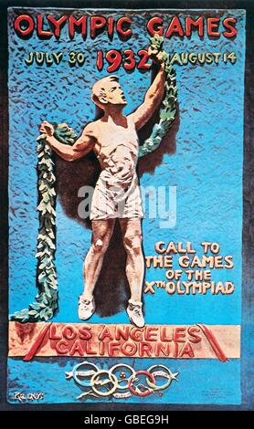 sports, Olympic Games, Los Angeles 30.7. - 14.8.1932, poster, 1932, 10th Olympic Games, Summer Olympic Games, Summer - Stock Photo