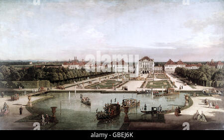 fine arts, Bellotto, Bernardo, called Canaletto (1721 - 1780), painting, 'Nymphenburg Palace from the park side', - Stock Photo