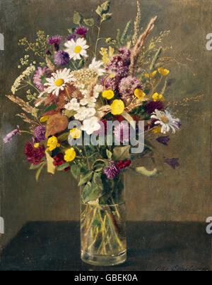 fine arts, Scholderer, Otto (1834 - 1902), painting, 'Bouquet of Flowers' ('Blumenstrauss'), Reinhardt Foundation, - Stock Photo