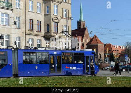 Strassenbahn, Breslau, Niederschlesien, Polen - Stock Photo